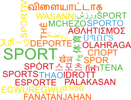 multilanguage: Background concept wordcloud multilanguage international many language illustration of sport