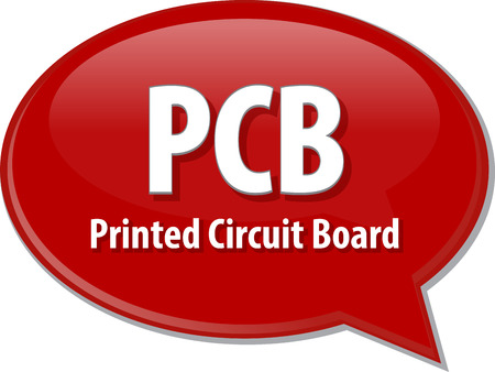 pcb: Speech bubble illustration of information technology acronym abbreviation term definition PCB Printed Circuit Board Stock Photo