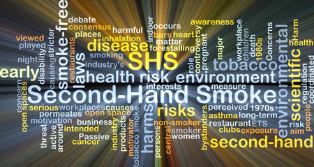 secondhand: Background concept wordcloud illustration of second-hand smoke SHS glowing light