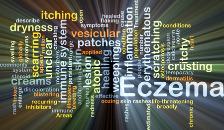 scarring: Background concept wordcloud illustration of eczema glowing light