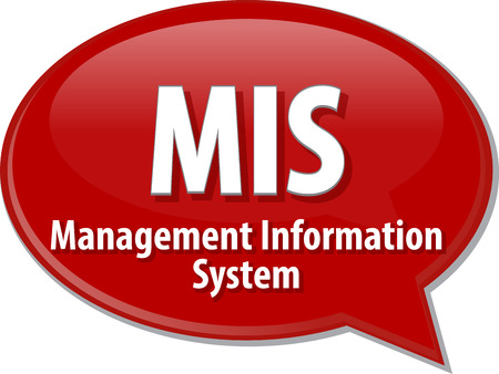 abbreviation: Speech bubble illustration of information technology acronym abbreviation term definition MIS Management Information System