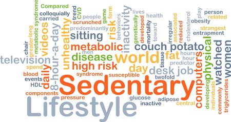 sedentario: Ilustración de fondo wordcloud concepto de estilo de vida sedentario Foto de archivo