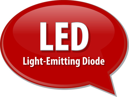 the light emitting: Speech bubble illustration of information technology acronym abbreviation term definition LED Light Emitting Diode Stock Photo