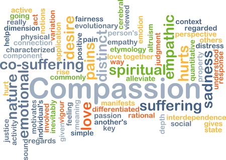 compassion: Background concept wordcloud illustration of compassion