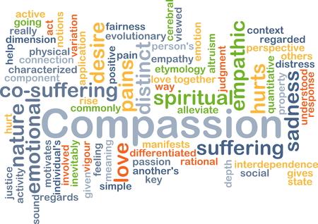 regards: Background concept wordcloud illustration of compassion