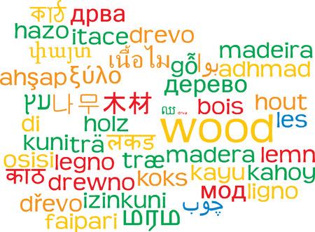 multilanguage: Background concept wordcloud multilanguage international many language illustration of wood