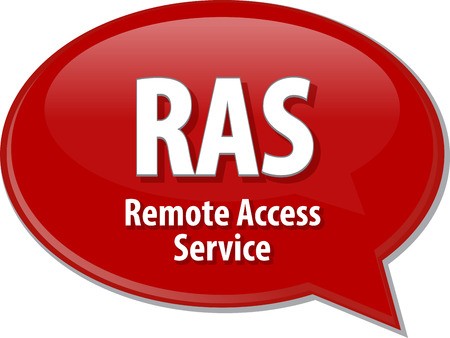 ras: Speech bubble illustration of information technology acronym abbreviation term definition RAS Remote Access Service Stock Photo