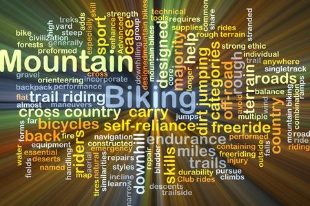 mountain biking: Background concept wordcloud illustration of mountain biking glowing light Stock Photo