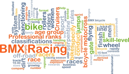specify: Background concept wordcloud illustration of BMX racing