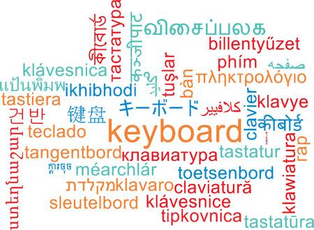 multilanguage: Background concept wordcloud multilanguage international many language illustration of keyboard Stock Photo