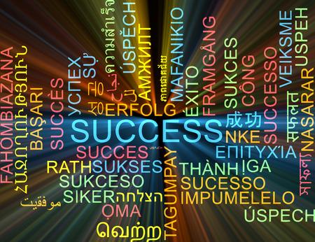 success concept: Background concept wordcloud multilanguage international many language illustration of success glowing light Stock Photo