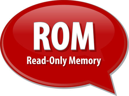 rom: Speech bubble illustration of information technology acronym abbreviation term definition ROM Read Only Memory