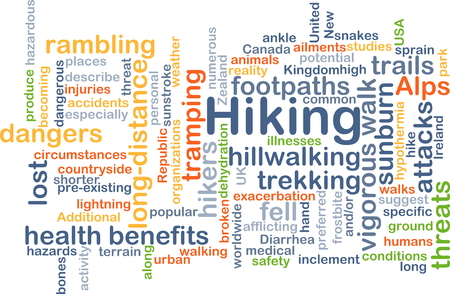 health threat: Background concept wordcloud illustration of hiking