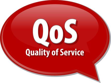abbreviation: Speech bubble illustration of information technology acronym abbreviation term definition QoS Quality of Service Stock Photo