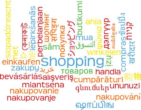 multilanguage: Background concept wordcloud multilanguage international many language illustration of shopping
