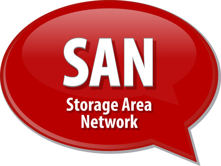definition: Speech bubble illustration of information technology acronym abbreviation term definition SAN Storage Area Network Stock Photo