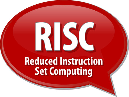 reduced: Speech bubble illustration of information technology acronym abbreviation term definition RISC Reduced Instruction Set Computing
