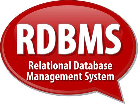 acronym: Speech bubble illustration of information technology acronym abbreviation term definition RDBMS Relational Database Management System