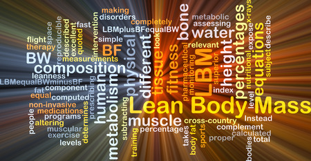 lean: Background concept wordcloud illustration of lean body mass LBM glowing light Stock Photo