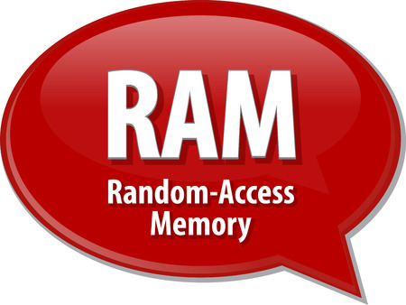 random access memory: Speech bubble illustration of information technology acronym abbreviation term definition RAM Random Access Memory Stock Photo