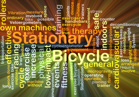 stationary bicycle: Background concept wordcloud illustration of stationary bicycle glowing light