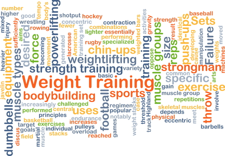 strength training: Background concept wordcloud illustration of weight training
