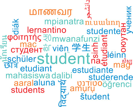 international students: Background concept wordcloud multilanguage international many language illustration of student Stock Photo