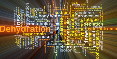 electrolytes: Background concept wordcloud illustration of dehydration glowing light