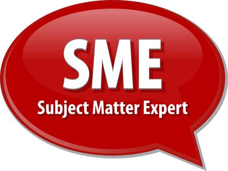 Sprechblase Illustration der Informationstechnologie Abkürzung Abkürzung Begriff Definition KMU Subject Matter Expert Lizenzfreie Bilder