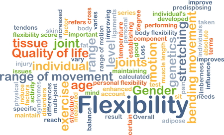 flexibility: Background concept wordcloud illustration of flexibility Stock Photo