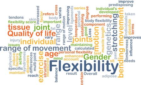 range of motion: Background concept wordcloud illustration of flexibility Stock Photo