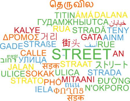 multilanguage: Background concept wordcloud multilanguage international many language illustration of street