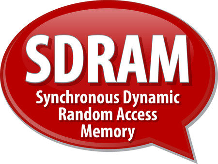 random access memory: Speech bubble illustration of information technology acronym abbreviation term definition SDRAM Synchronous Dynamic Random Access Memory Stock Photo