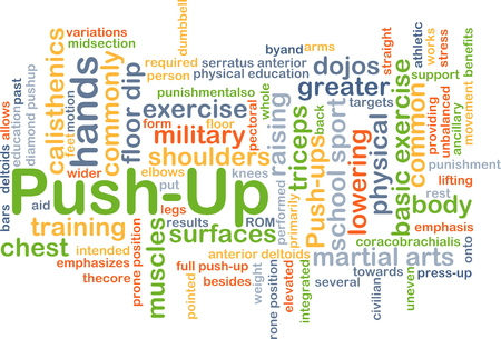 pushup: Background concept wordcloud illustration of push-up