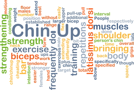 additional training: Background concept wordcloud illustration of chin-up Stock Photo