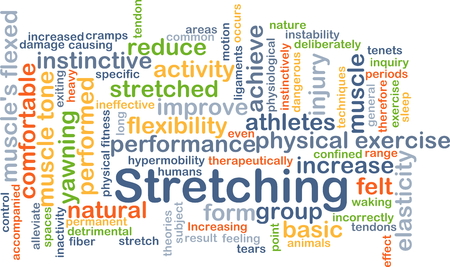 Background concept wordcloud illustration of stretching Stock Photo