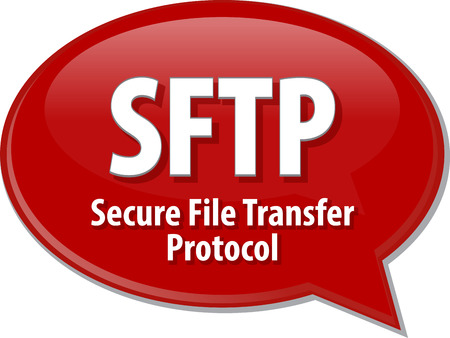protocol: Speech bubble illustration of information technology acronym abbreviation term definition SFTP Secure File Transfer Protocol