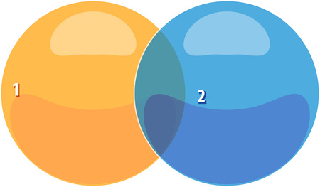 blank venn business strategy concept infographic diagram illustration of two 2 Stock Photo