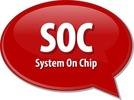 definition: Speech bubble illustration of information technology acronym abbreviation term definition SOC System On Chip Stock Photo