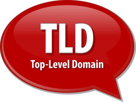abbreviation: Speech bubble illustration of information technology acronym abbreviation term definition TLD Top Level Domain Stock Photo