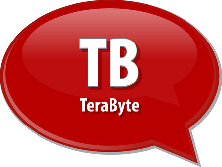 Speech bubble illustration of information technology acronym abbreviation term definition TB terabyte