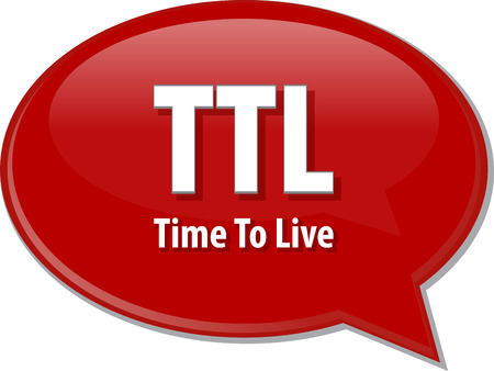 Speech bubble illustration of information technology acronym abbreviation term definition TTL Time to Live