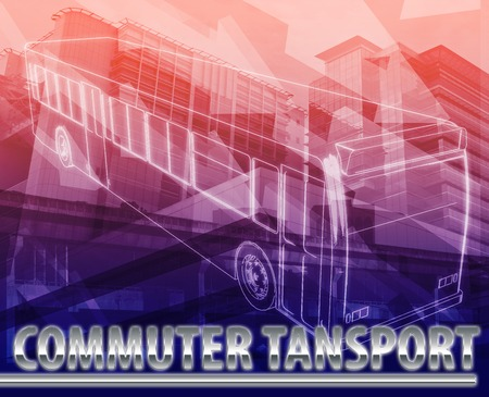 commuter: Abstract background digital collage concept illustration commuter transport public bus