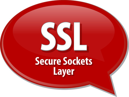 Speech bubble illustration of information technology acronym abbreviation term definition SSL Secure Sockets Layer Stock Photo