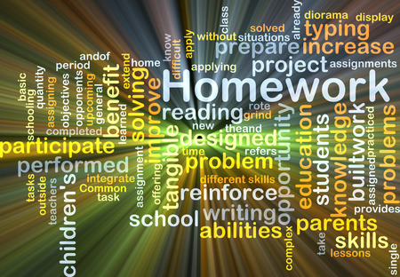 performed: Background concept wordcloud illustration of homework glowing light