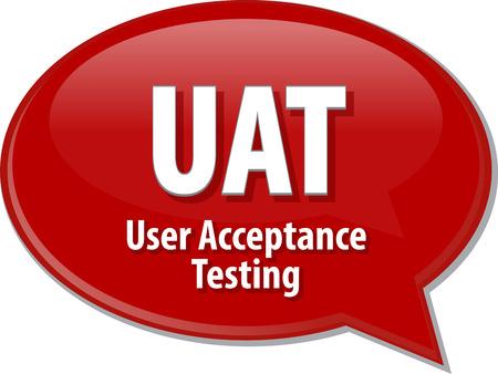 Speech bubble illustration de la technologie de l'information acronyme abréviation terme définition UAT User Acceptance Test