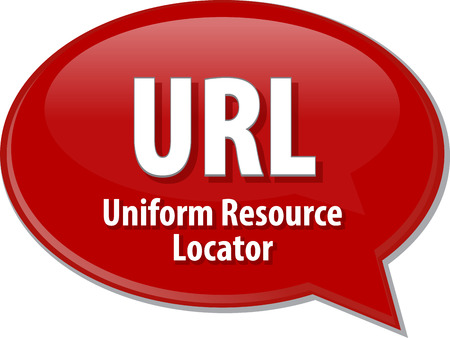 locator: Speech bubble illustration of information technology acronym abbreviation term definition URL Uniform Resource Locator