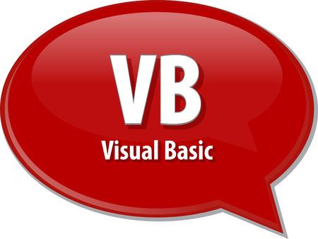 definition: Speech bubble illustration of information technology acronym abbreviation term definition VB Visual Basic