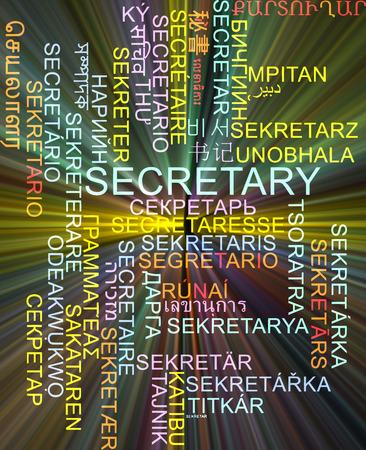 foreign secretary: Background concept wordcloud multilanguage international many language illustration of secretary glowing light Stock Photo