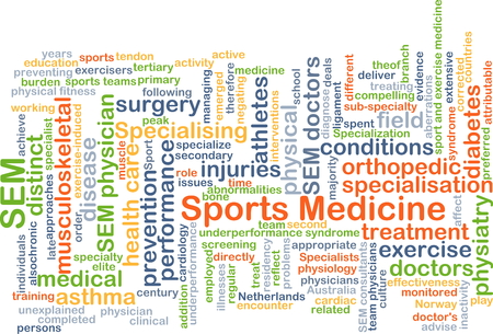 Background concept wordcloud illustration of sports medicine